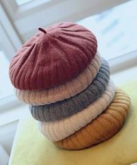立体ラインニットベレー帽6色