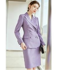 セットアップスーツ/ピークドラペルダブルボタンジャケット+スカート