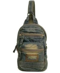 デニム素材タブ収納可能斜めがけバッグ