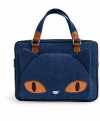 2WAY猫の顔/デニム/スクエア/ハンドバッグ