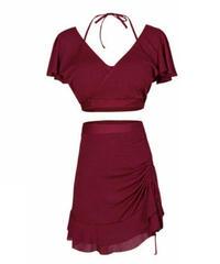 ホルターネックタンキニ水着/袖フレアーとペンシルスカートタイプ上品2色