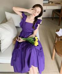 バックシャン袖フリルがかわいい/スクエアカラー/ロングフレアワンピース黒/紫