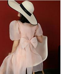 袖ボリュームシアー素材バック大きいりぼんがポイントロングドレス