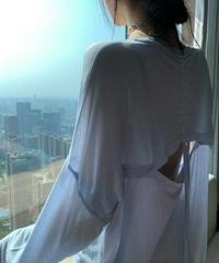 オーバーサイズシアー素材を生かして薄手バックシャン長袖Tシャツ3色