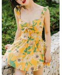 花柄キャミワンピース水着/黄色で健康的バックオープン