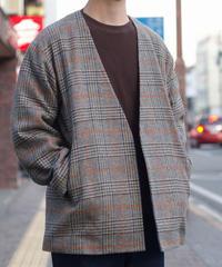 Tailor the dress / Collarless Jacket - Vintage Shetland Beige Check