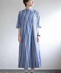 KaIKI  /   リネンコットンストライプビックタックフレアワンピース - blue/white/yellow