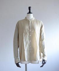 MUYA / Atelier shirts relax stand collar - Beige Check