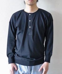 Olde Homesteader / HENLEY NECK (LONG SLEEVE) - INTERLOCK - BLACK