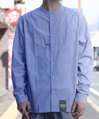 Handwerker /  collerless shirt - Stripe Blue