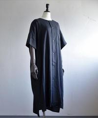 Tailor the dress / Nocollar Wide shirts dress - BLACK