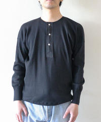 Olde Homesteader / HENLEY NECK (LONG SLEEVE) - SWEDISH ARMY RIB - BLACK
