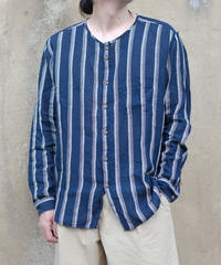 MUYA / Nerd shirts stand collar Stripe - DarkNavy