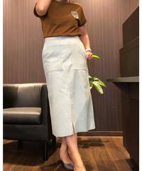 ペールトーンカラー人工皮革スカート