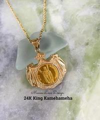 24K 幻の1点物 キングカメハメハコイン  ハワイ王国紋章 ハワイコイン ペンダントトップ ($4800)