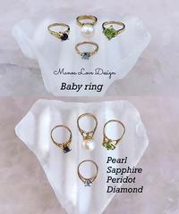 14k ベイビーリング(ダイヤモンド、サファイア、ペリドット、パール) ($198)