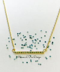 14K ブルーダイヤモンド バーネックレス ($880)