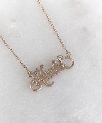14K 極細ハンドカットネームネックレス ダイヤモンド ($936)