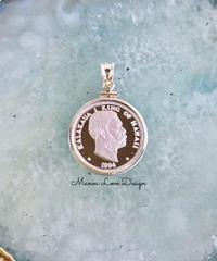 1994年 シルバー.999純銀 1点物 カラカウア王 ハワイコインペンダントトップ
