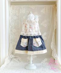 ※在庫限りで終了ラスト1点※【Jeanie Love 】Pretty Dungaree Dress(ダークネイビー) ブルーリボン/XSサイズ