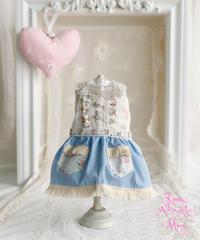※在庫限りで終了※【Jeanie Love 】Pretty Dungaree Dress(ライトブルー) XSサイズ・Sサイズ