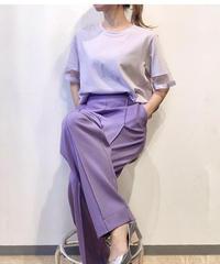 KOREA select 袖口チュールリボンTシャツ パープル