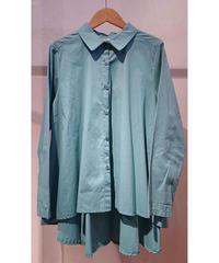 イタリア【ZETA OTTO】コットンペプラムシャツ グリーン
