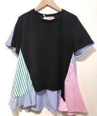 KOREA select  ストライプ布帛切替Tシャツ ブラック