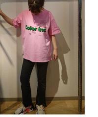 パイルロゴビッグTシャツ ピンク×グリーン