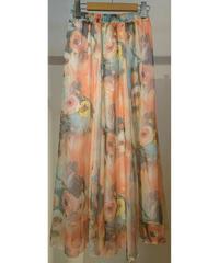 韓国セレクト花柄ロングスカート オレンジ