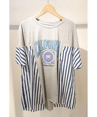 リメイク風プリントAラインTシャツ グレー×ブルー