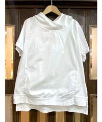 KOREA select 布帛切替フードTシャツ  ホワイト