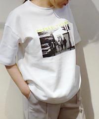 フォト刺繍リブビッグTシャツ  ホワイト
