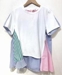 KOREA select ストライプ布帛切替Tシャツ ホワイト