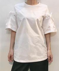 袖リボン 布帛切替Tシャツ  ホワイト