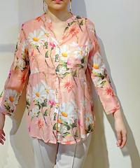 イタリア【LARA】コットンガーゼ花柄シャツ ピンク
