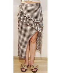 韓国セレクトギンガムチェックアシンメトリータイトスカート ブラック