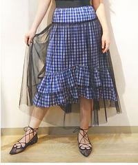 チュール×ギンガムチェックロングスカート ブルー