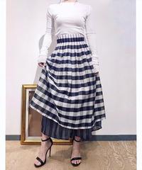 KOREAセレクト ギンガムチェック二重スカート ネイビー×ホワイト