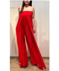 KOREA select ベアトップワイドパンツドレス レッド