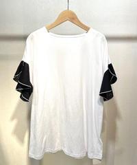 ドロップショルダー袖リネンフリルTシャツ  ホワイト×ブラック