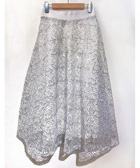 KOREA シルバー装飾フレアスカート