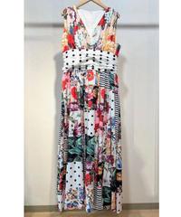 KOREA select パッチワークプリントドレス 花柄×ドット