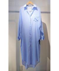 コットンガーゼロングシャツ  ブルー