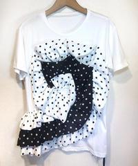 KOREA select ドットコサージュ Tシャツ ホワイト