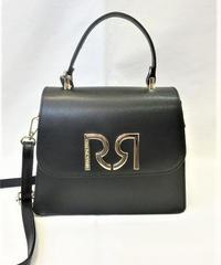 イタリア【RINASCIMENTO】本革ロゴショルダーバッグ ブラック×マルチ