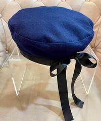 バックリボンウールベレー帽子  ネイビー S