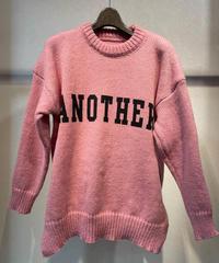 「ANOTHER」プリントサイドスリットニット ピンク
