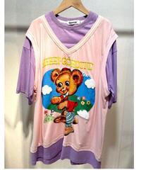 KOREA select クマプリントベスト重ね着風Tシャツ パープルピンク