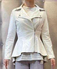 イタリアセレクト 合皮ペプラムライダースジャケット ホワイト